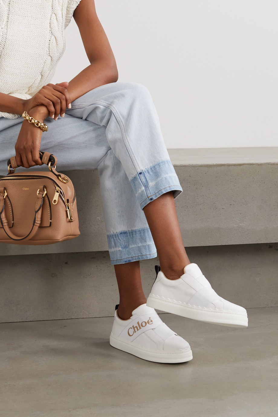 Chloé Lauren logo-embroidered leather sneakers