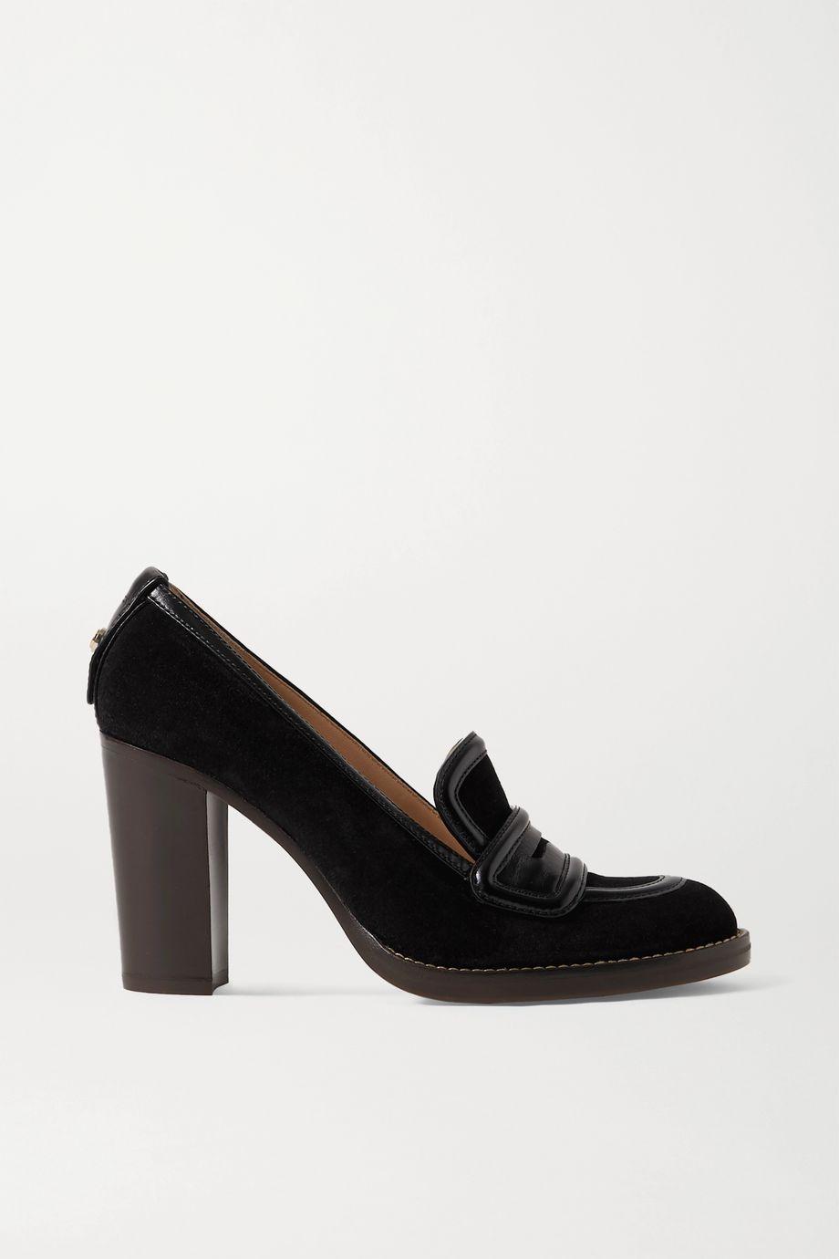 Chloé Emma leather-trimmed suede pumps