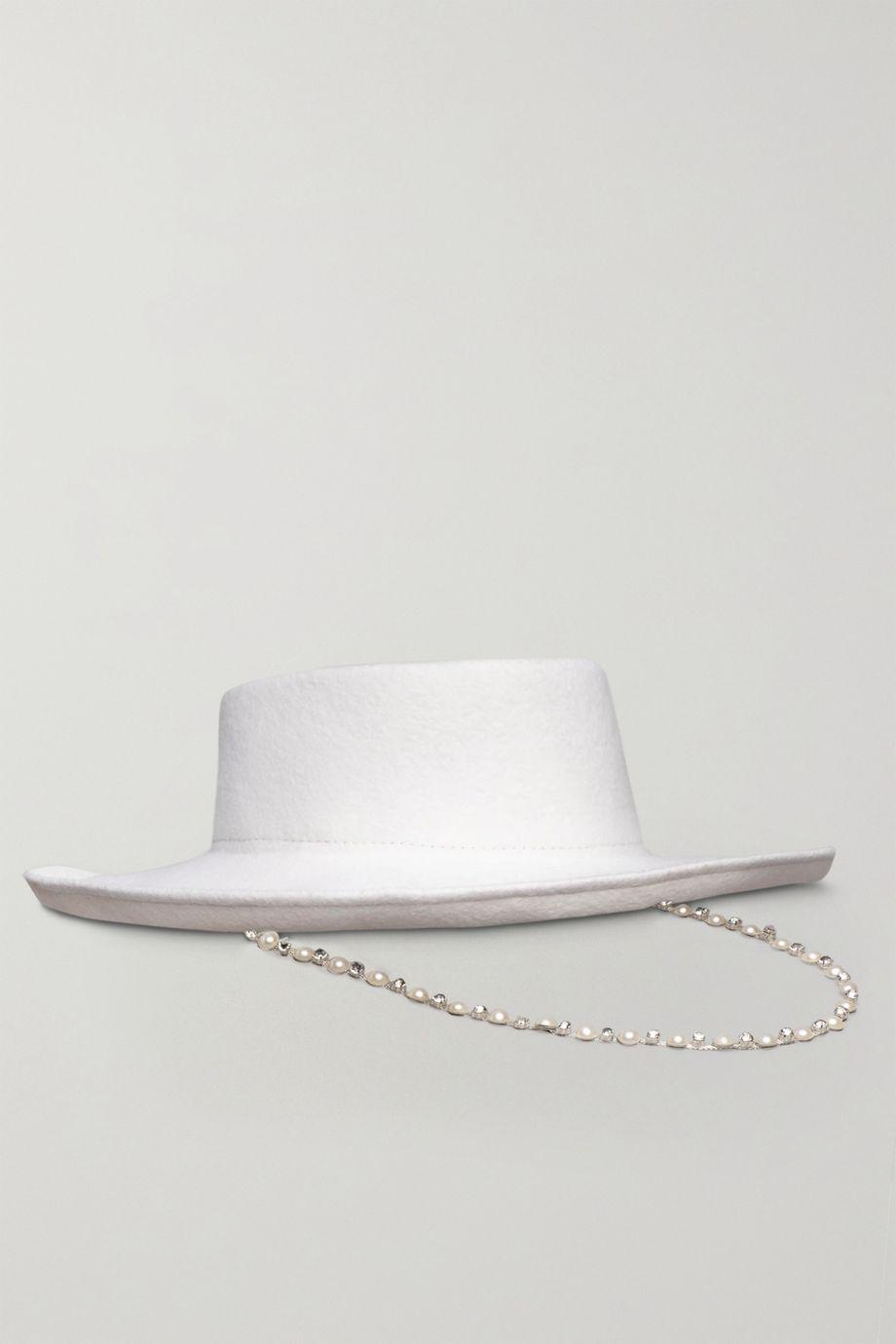 "Eugenia Kim x Hayley Paige ""Barb"" 人造珍珠水晶缀饰羊毛毡帽"