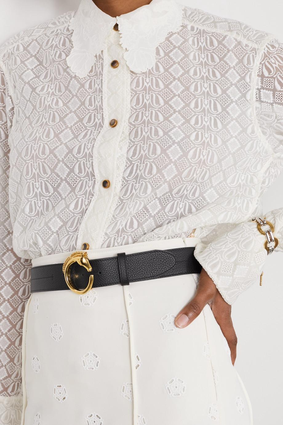 Chloé Embellished textured-leather belt