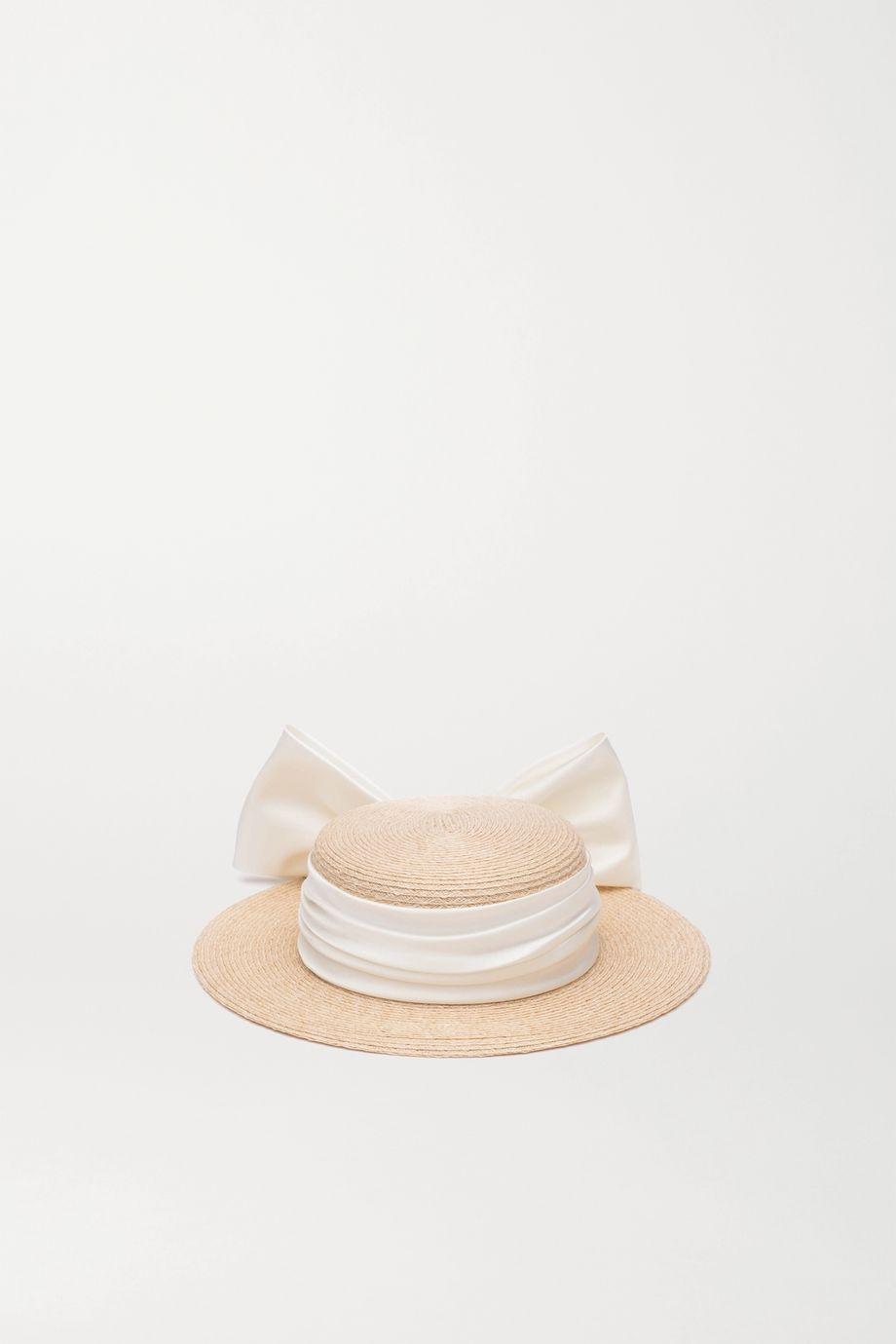 Eugenia Kim Brigette satin-trimmed straw hat