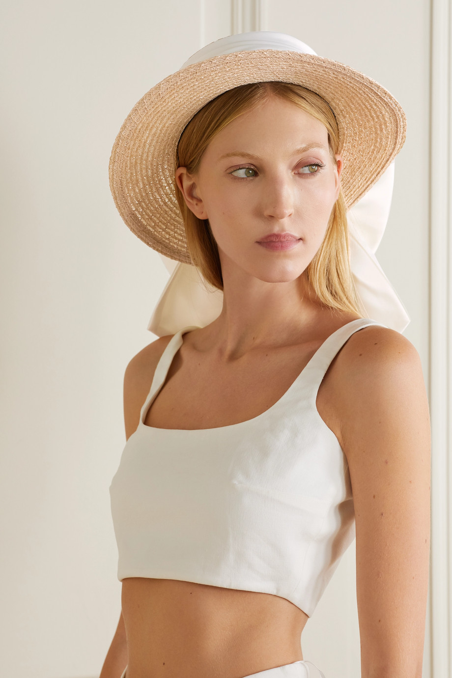 Eugenia Kim Brigette satin-trimmed straw hat