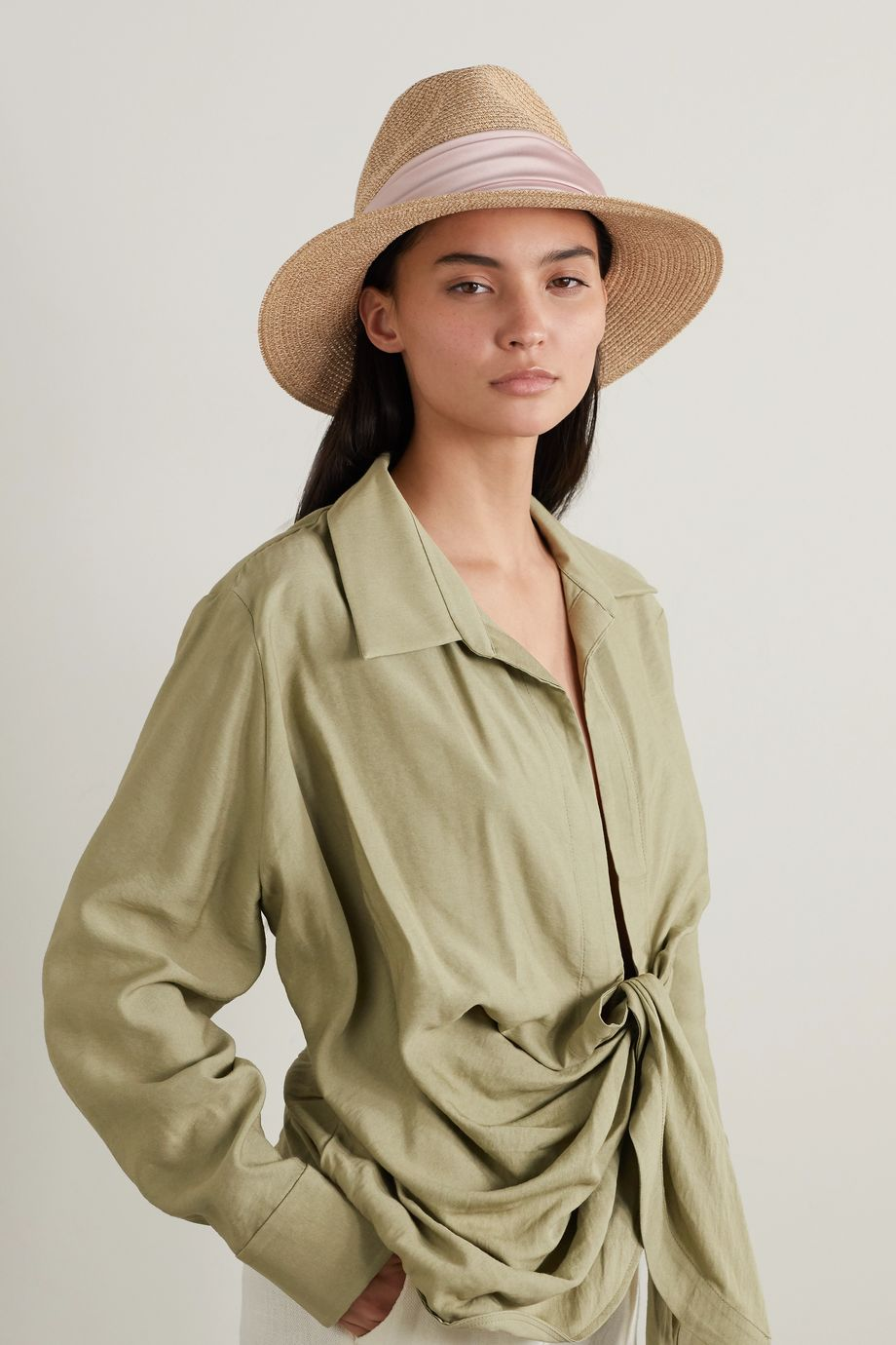 Eugenia Kim Courtney satin-trimmed straw fedora