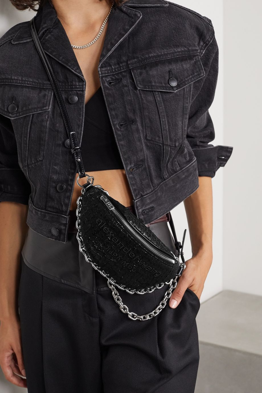 Alexander Wang Attica embroidered tweed and patent-leather belt bag