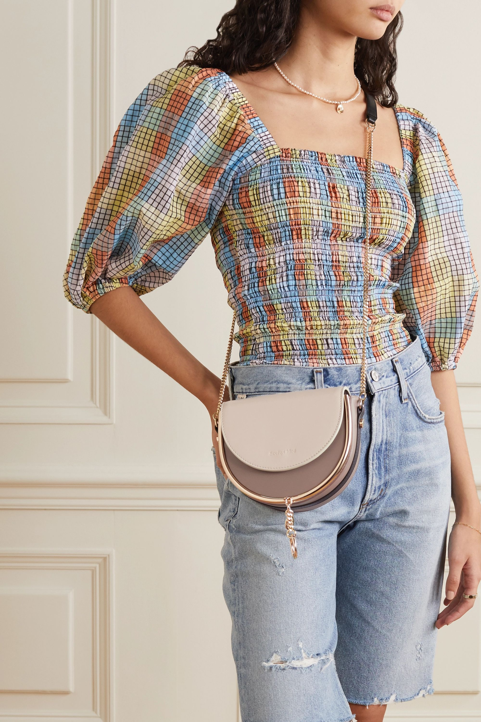 See By Chloé Mara embellished two-tone leather shoulder bag