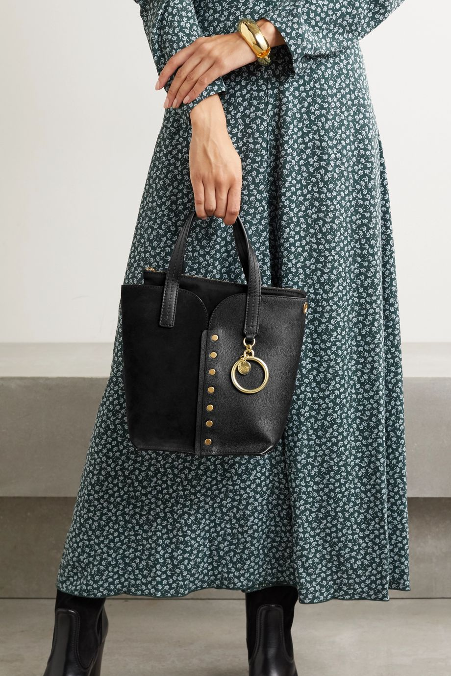 See By Chloé Gaia mini studded leather and suede tote