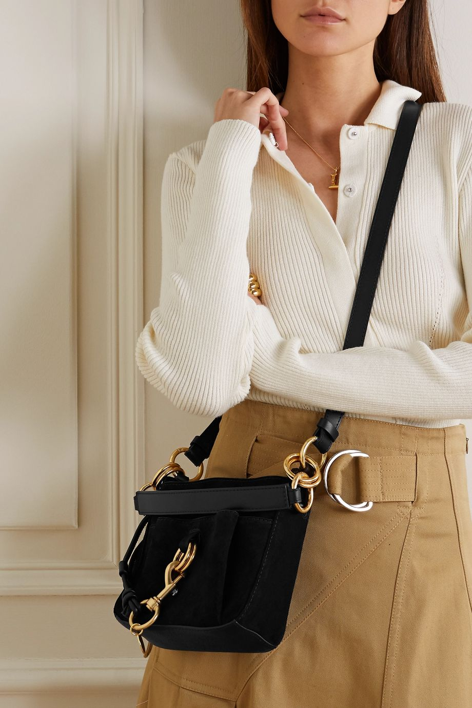 See By Chloé Tony small suede and textured-leather bucket bag