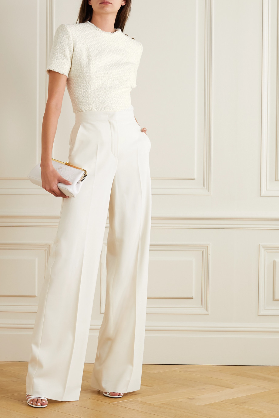 Balmain Button-embellished frayed tweed top