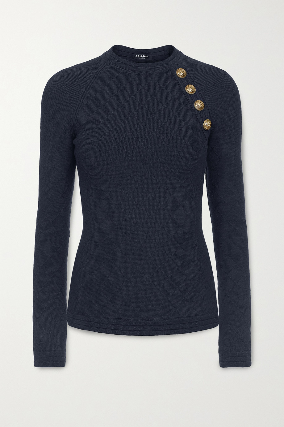 Balmain Button-embellished jacquard-knit sweater