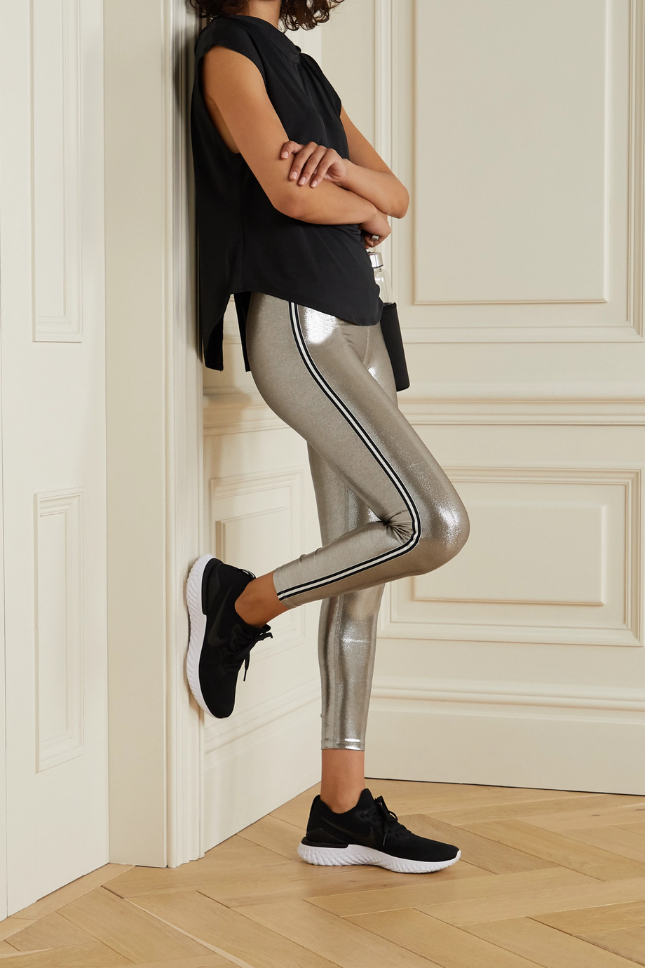 Heroine Sport Jetset striped metallic stretch leggings