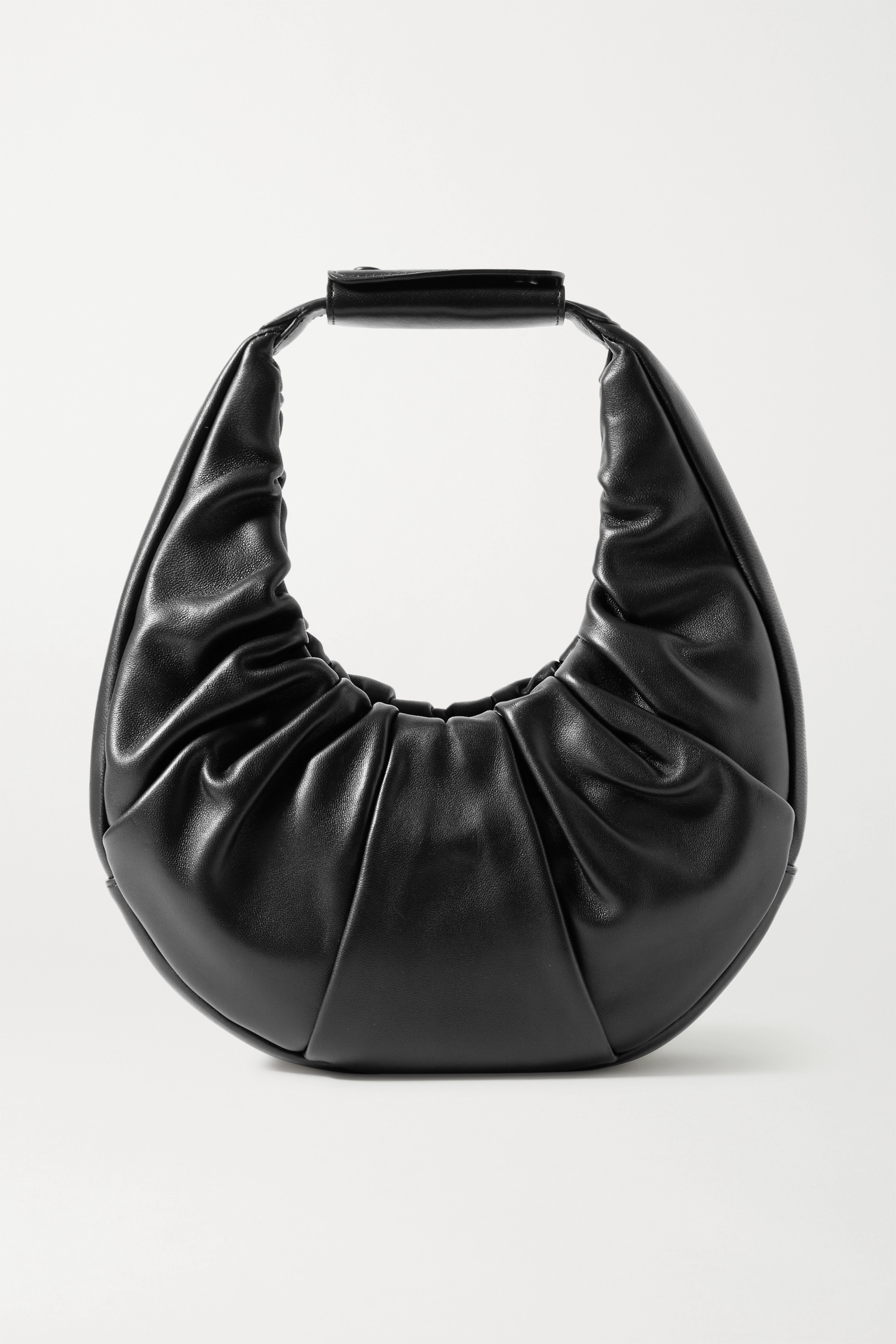 STAUD Moon ruched leather tote