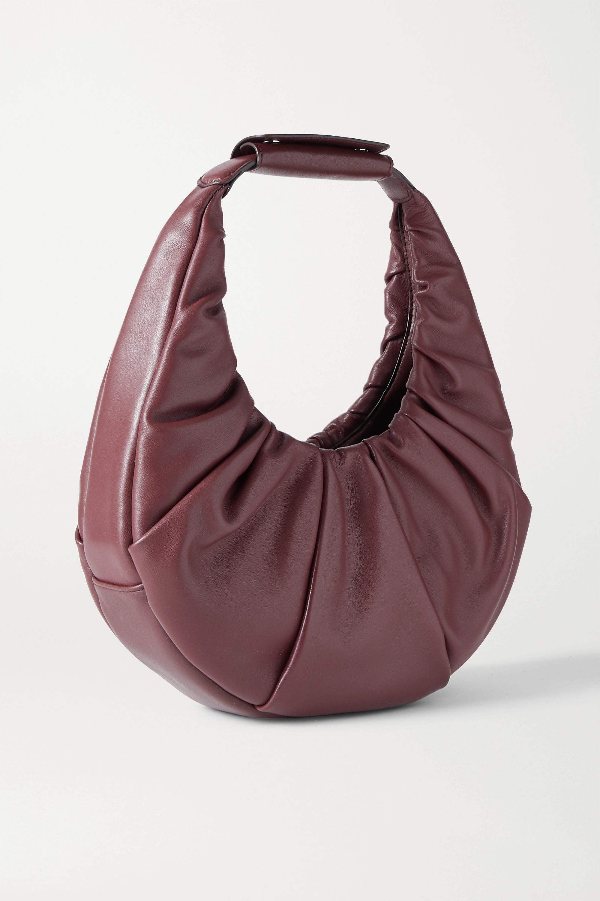 Burgundy Moon Ruched Leather Tote | Staud
