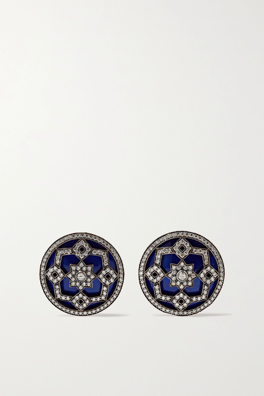 Amrapali 18-karat gold and rhodium-plated, diamond and enamel earrings