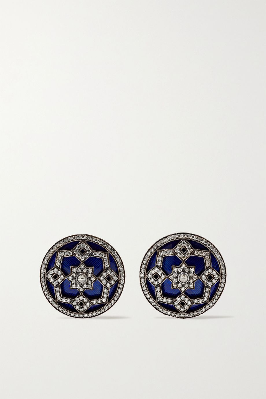 Amrapali 18-karat gold and rhodium-plated, diamond and enamel earrings