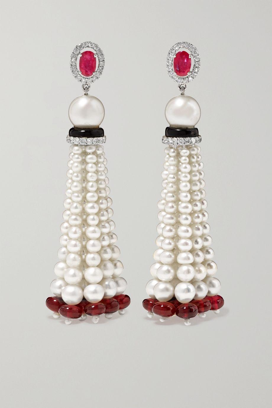 Amrapali 18-karat white gold multi-stone earrings