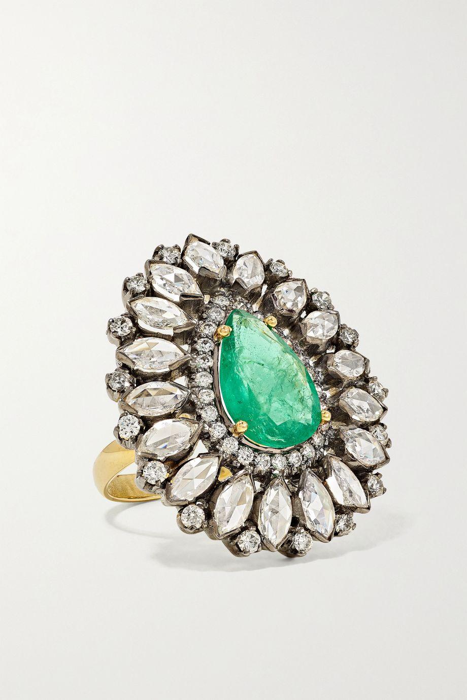 Amrapali 18-karat gold, sterling silver, emerald and diamond ring
