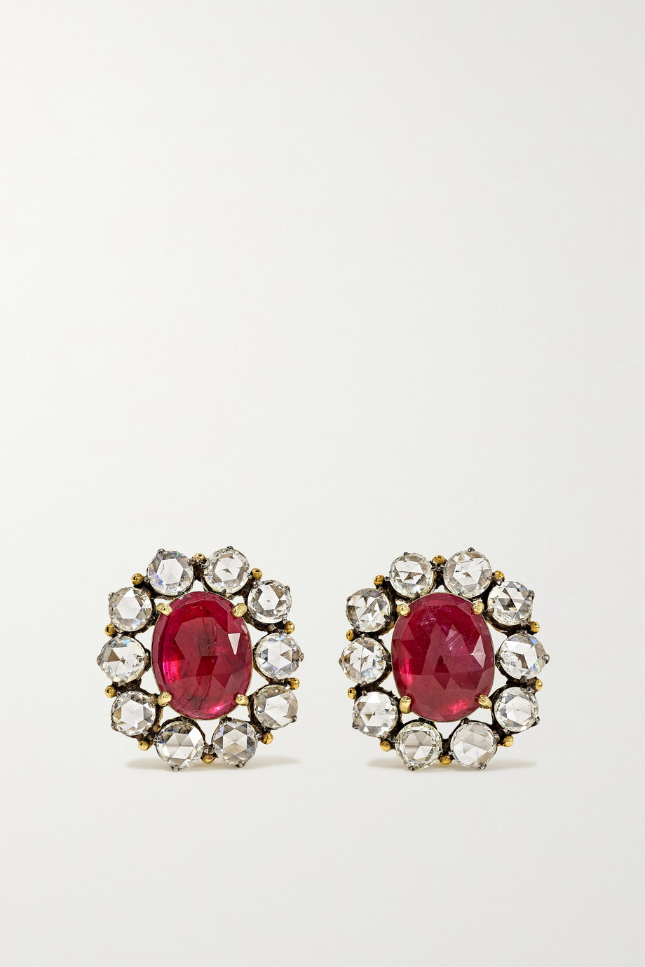 Amrapali 18-karat gold, sterling silver, ruby and diamond earrings