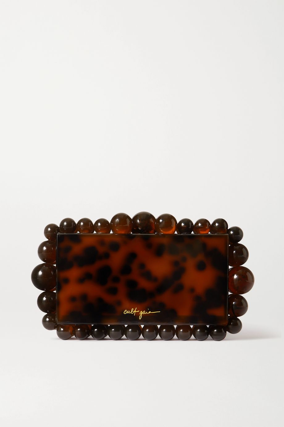 Cult Gaia Eos beaded tortoiseshell acrylic clutch