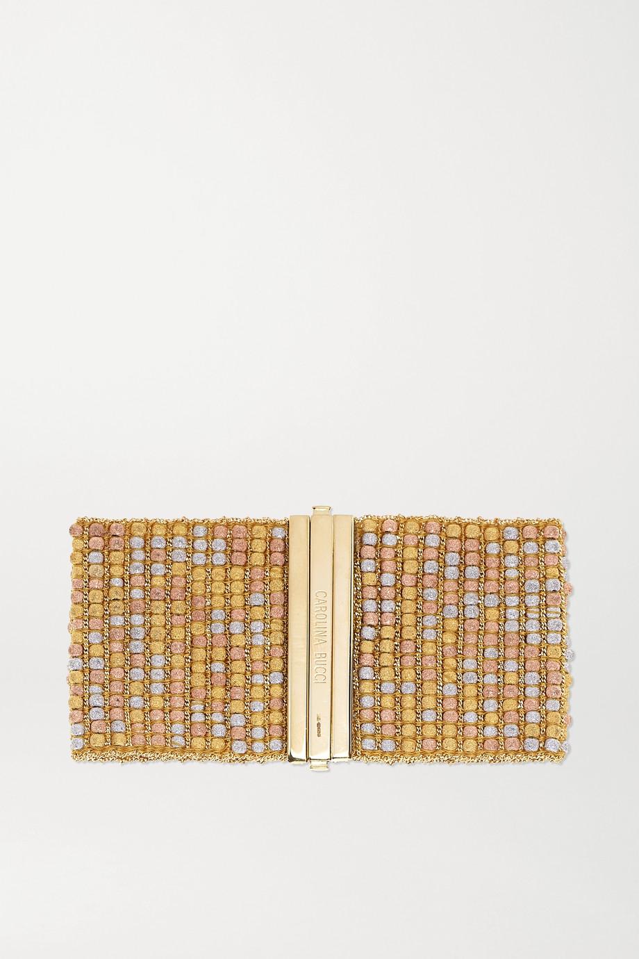 Carolina Bucci Armband aus 18 Karat Rosé-, Gelb- und Weißgold und Seide