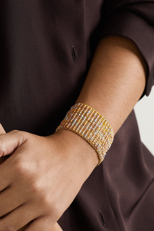 Carolina Bucci 18-karat rose, yellow and white gold and silk bracelet