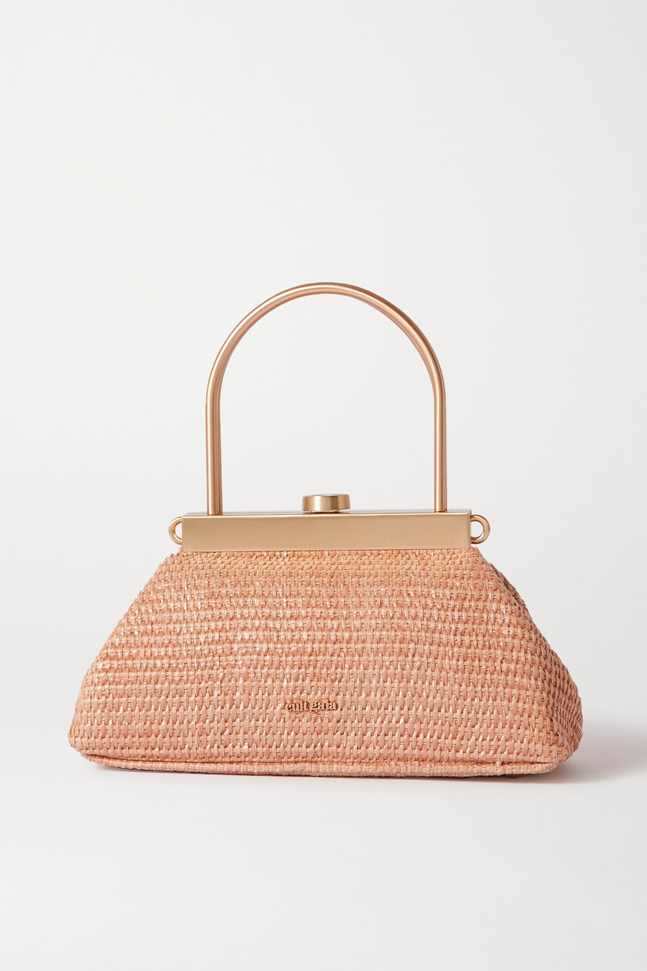 Cult Gaia Estelle mini leather-trimmed woven straw tote