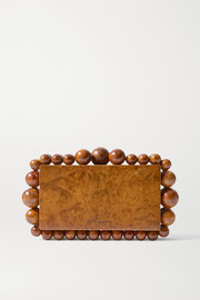 Cult Gaia Eos beaded wood clutch