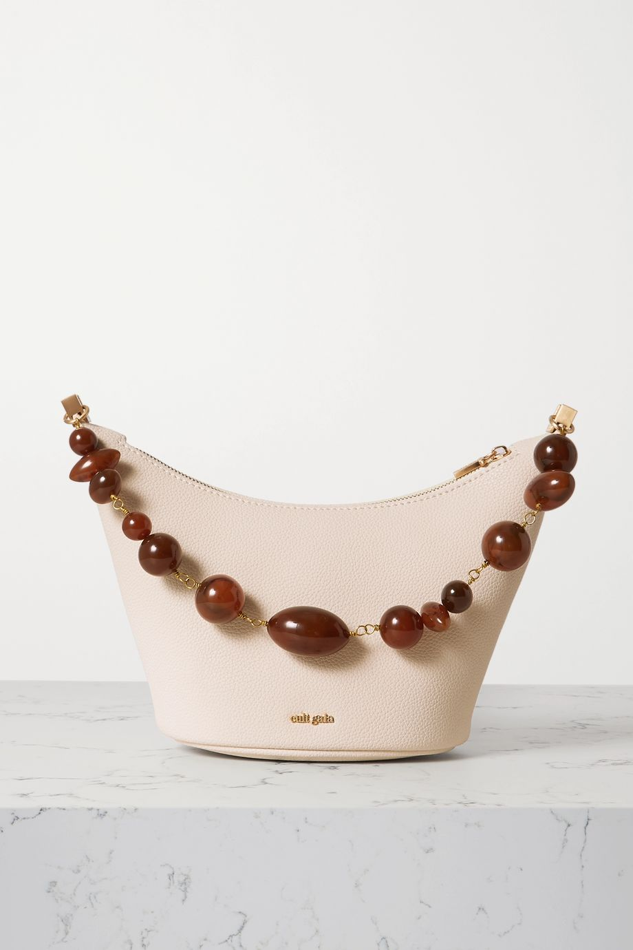 Cult Gaia Gia bead-embellished textured-leather shoulder bag