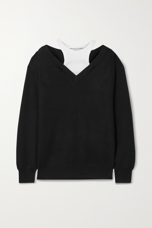 alexanderwang.t Layered merino wool and stretch-cotton jersey sweater