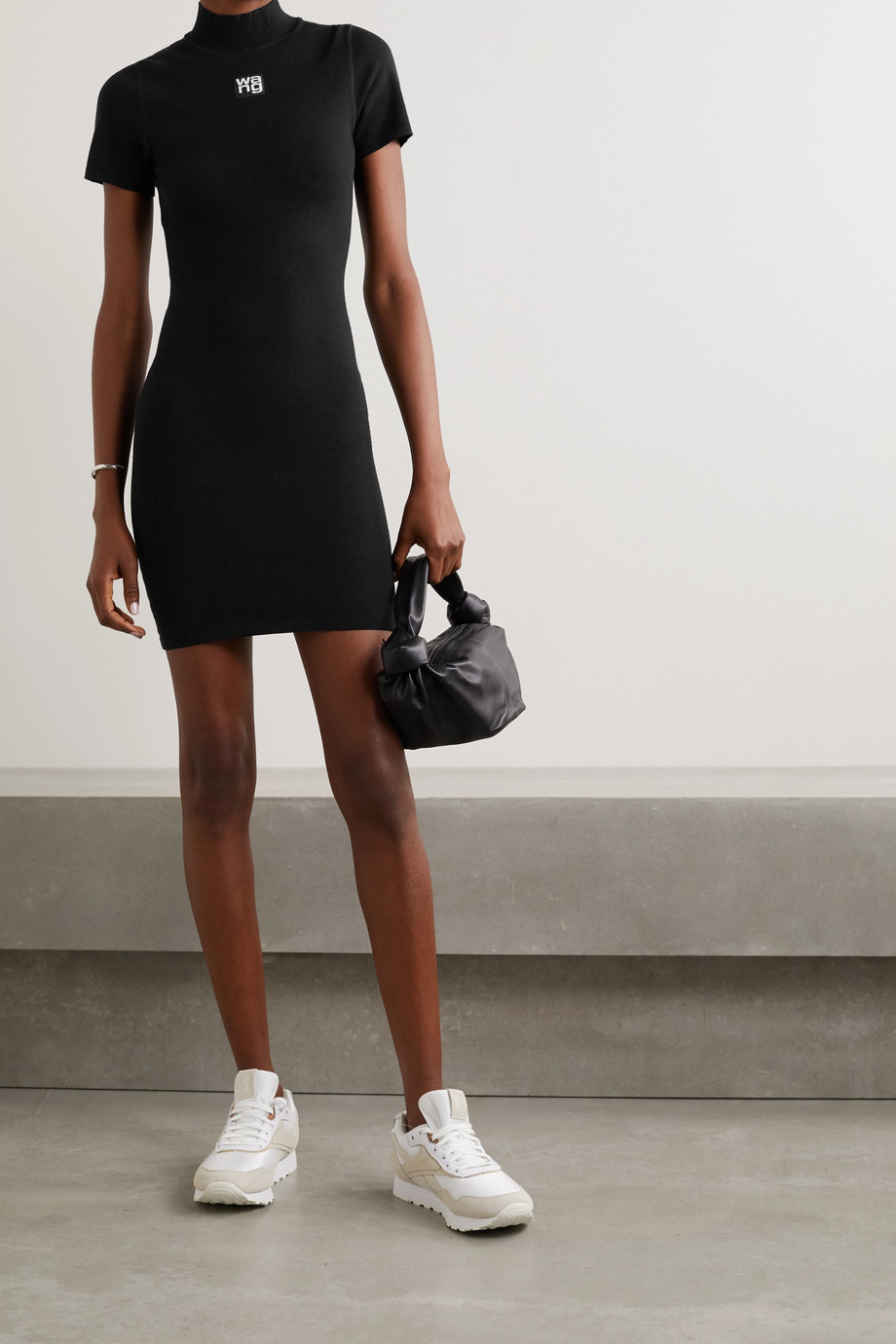 alexanderwang.t Appliquéd stretch-knit mini dress
