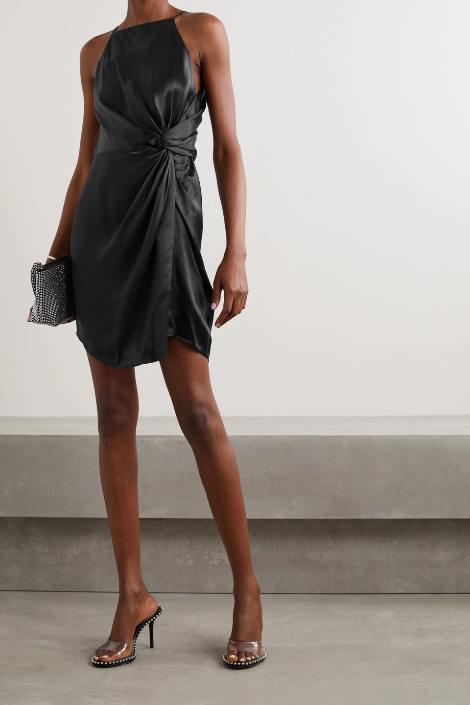 alexanderwang.t Knotted silk-charmeuse mini dress