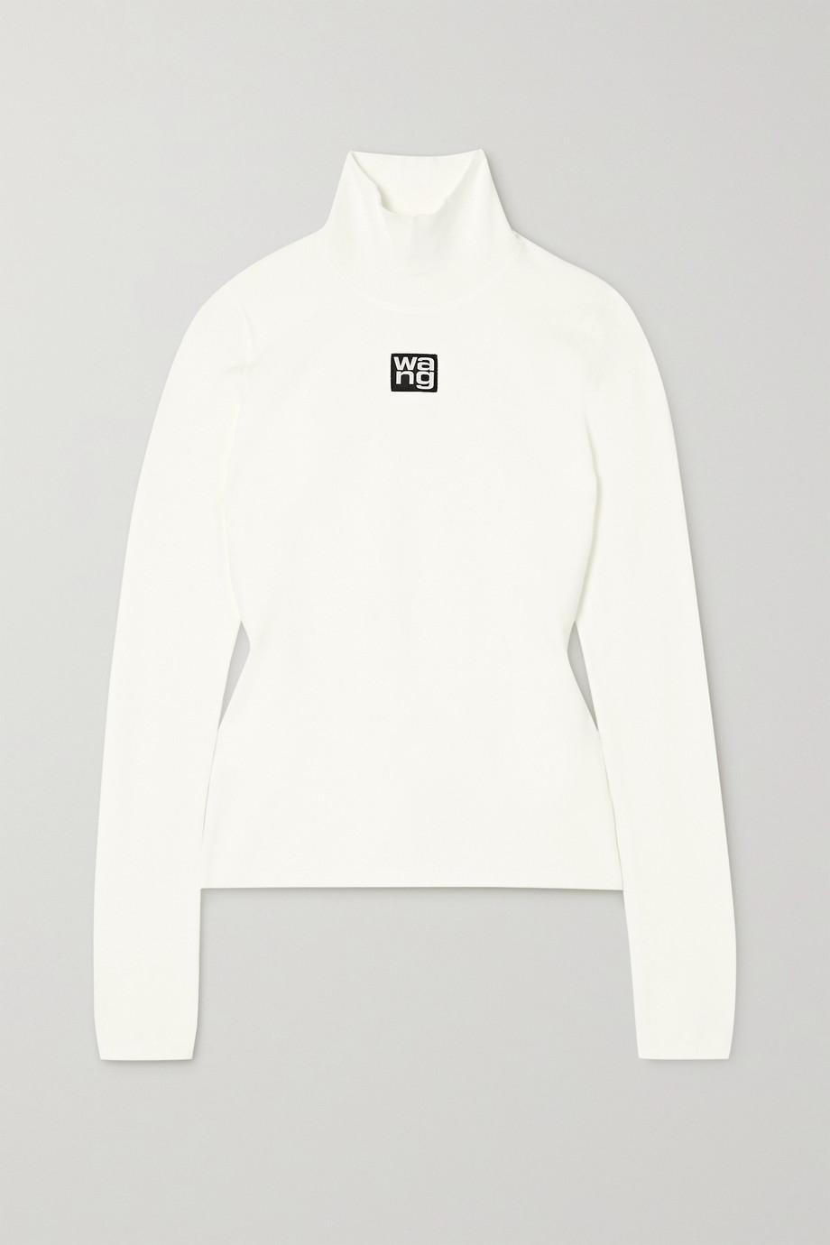 alexanderwang.t Appliquéd stretch-knit turtleneck top
