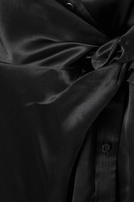 Black Wrap-effect Knotted Silk-charmeuse Midi Dress   Alexanderwang.t