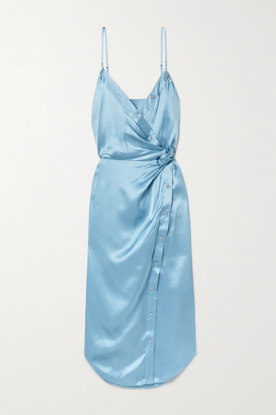 alexanderwang.t Wrap-effect knotted silk-charmeuse midi dress