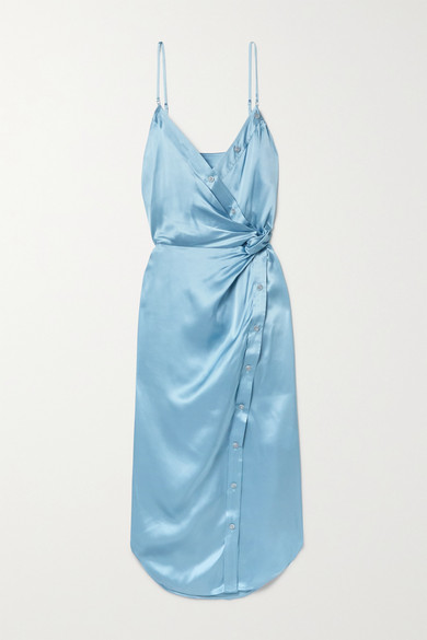 Casio WRAP-EFFECT KNOTTED SILK-CHARMEUSE MIDI DRESS