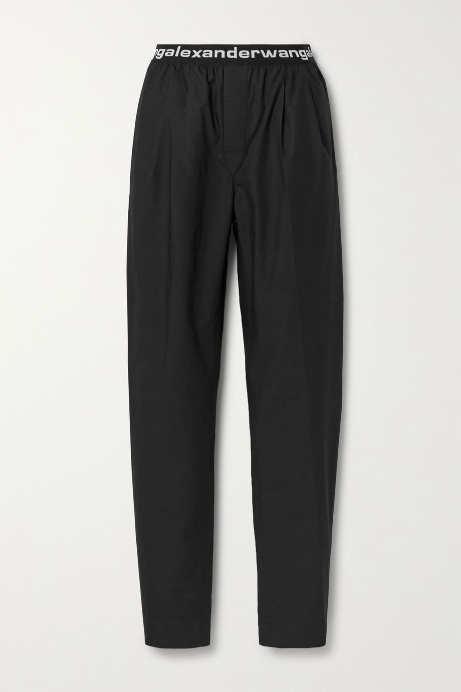 alexanderwang.t Jacquard-trimmed cotton-poplin straight-leg pants