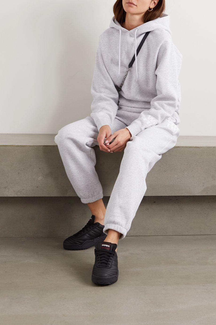 alexanderwang.t Jogginghose aus meliertem Jersey aus einer Baumwollmischung mit Print