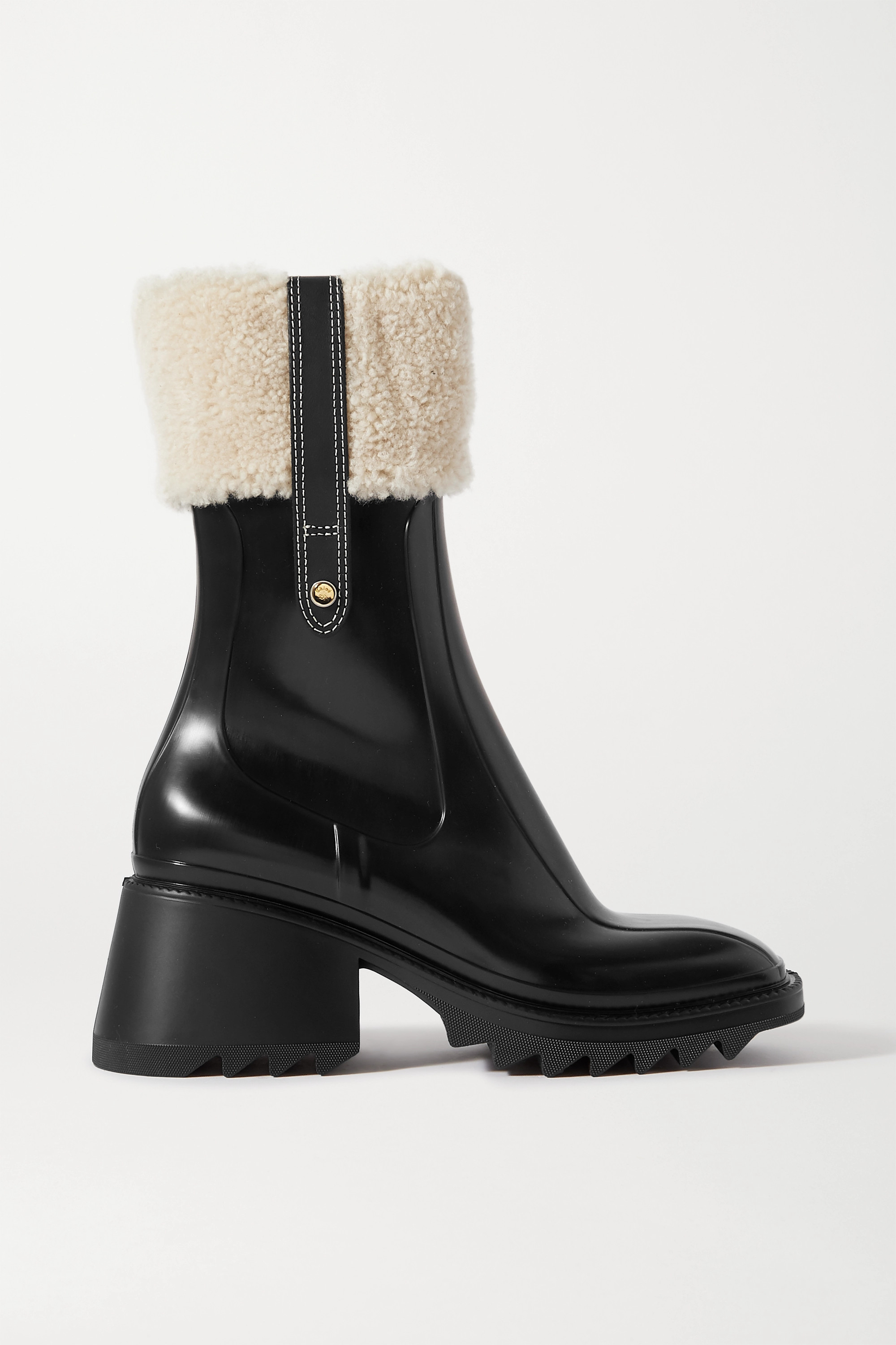Chloé Betty shearling and leather-trimmed rubber ankle boots