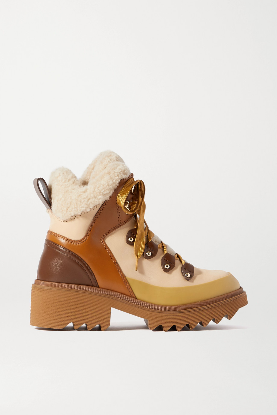 Chloé Shearling and rubber-trimmed leather ankle boots