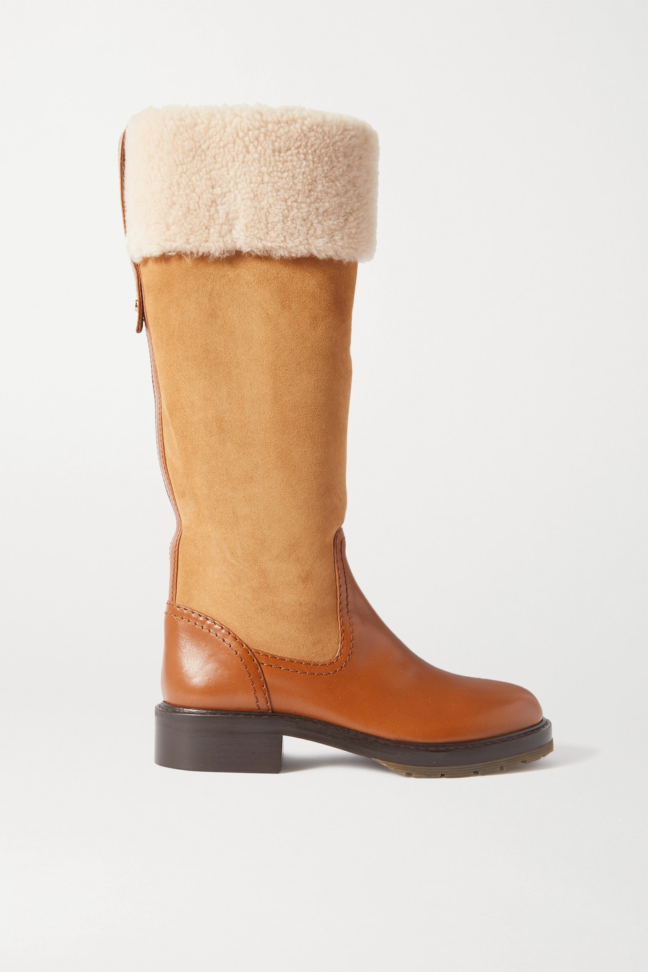 Chloé Shearling-trimmed suede and leather knee boots