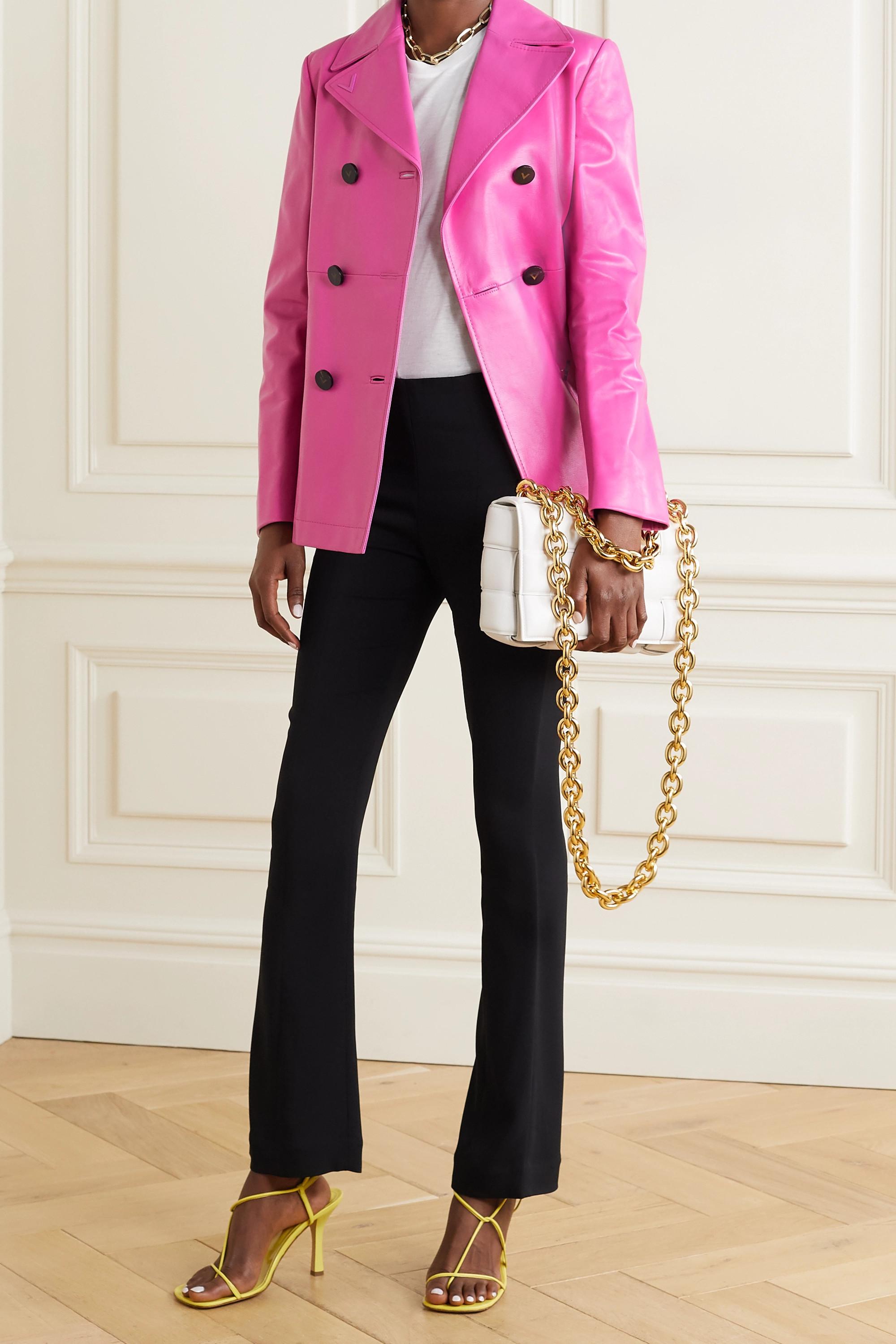Valentino Manteau à double boutonnage en cuir