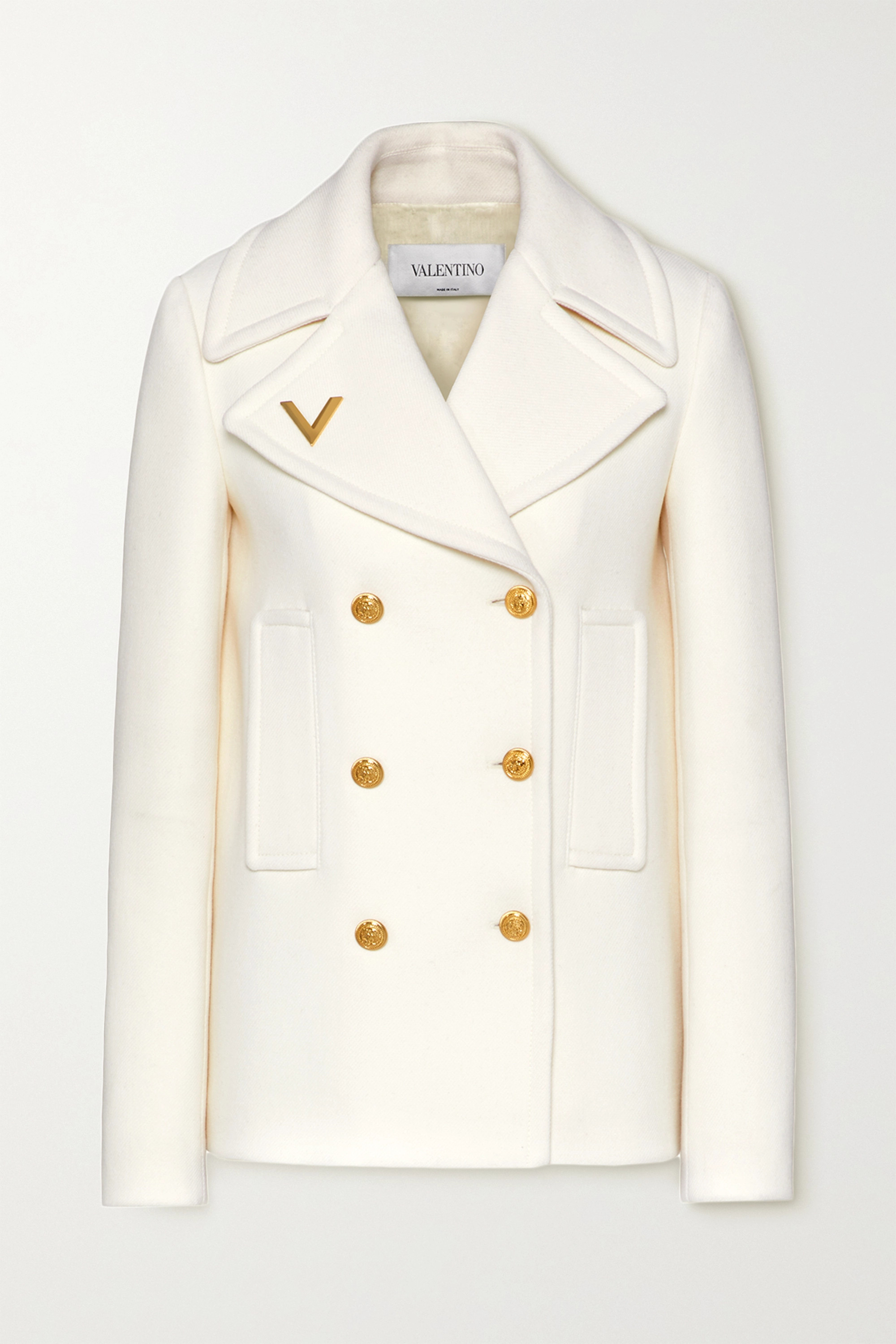 Valentino Embellished double-breasted wool coat