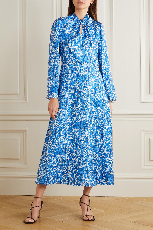 Valentino Tie-neck printed silk midi dress