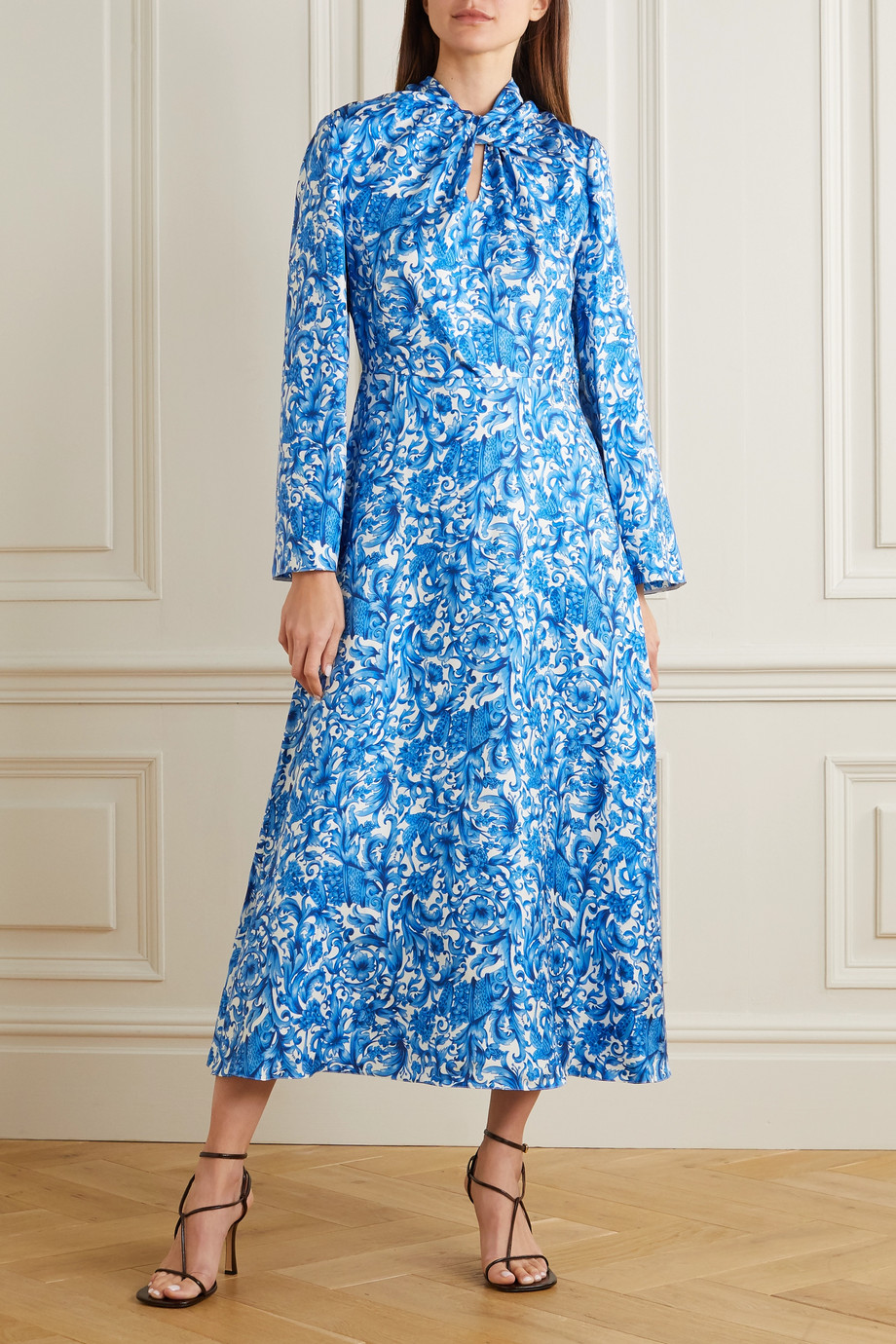 Valentino Tie-neck printed silk midi dress