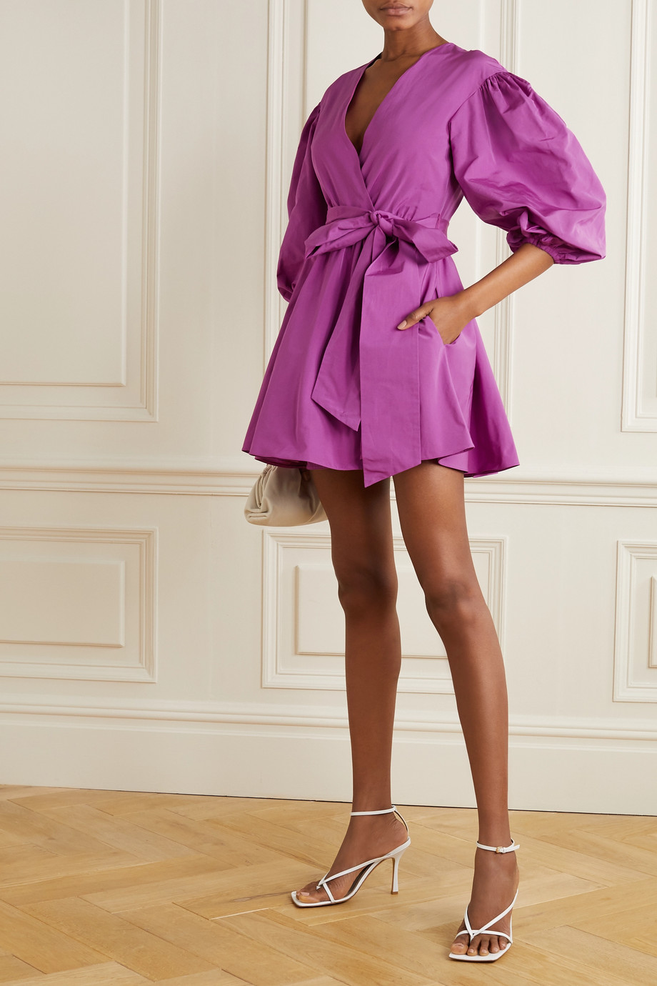 Valentino Pleated cotton-blend faille wrap mini dress