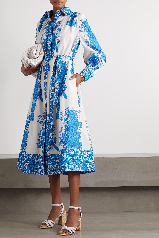 Valentino Robe-chemise midi en popeline de coton imprimée à ceinture