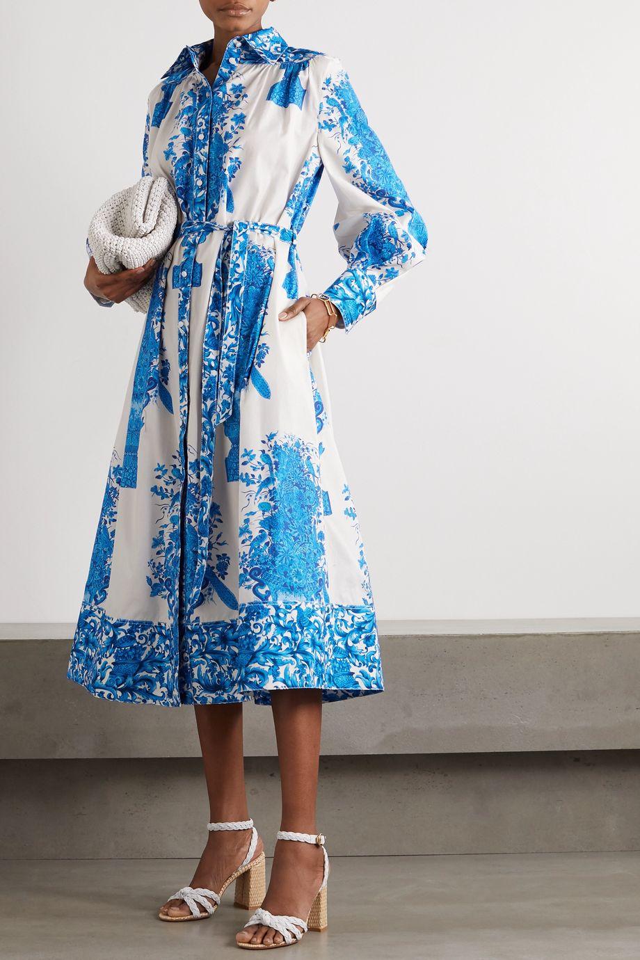 Valentino Belted printed cotton-poplin midi shirt dress