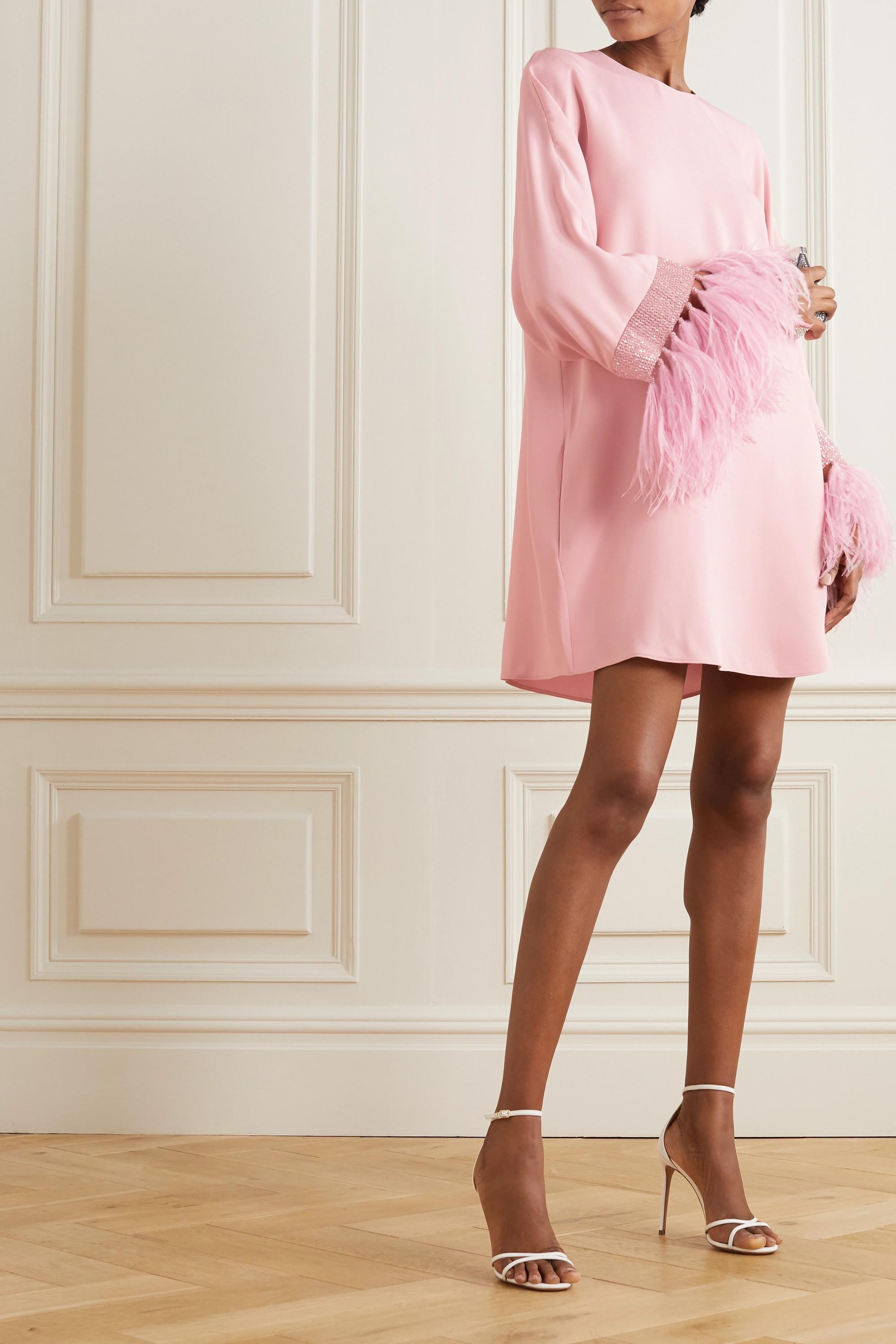 Valentino Minikleid aus Crêpe mit Federn und Verzierungen