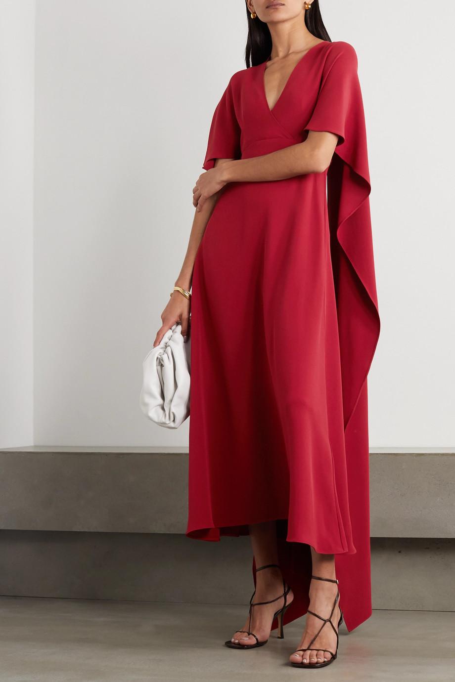Valentino Cape-effect lace-trimmed silk crepe de chine dress