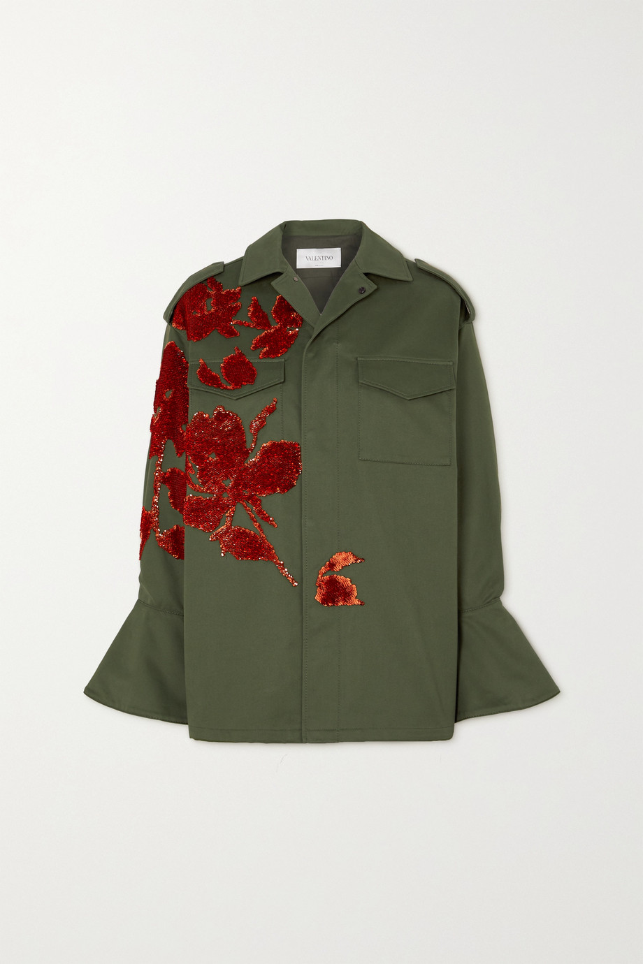 Valentino Sequin-embellished appliquéd cotton-gabardine jacket