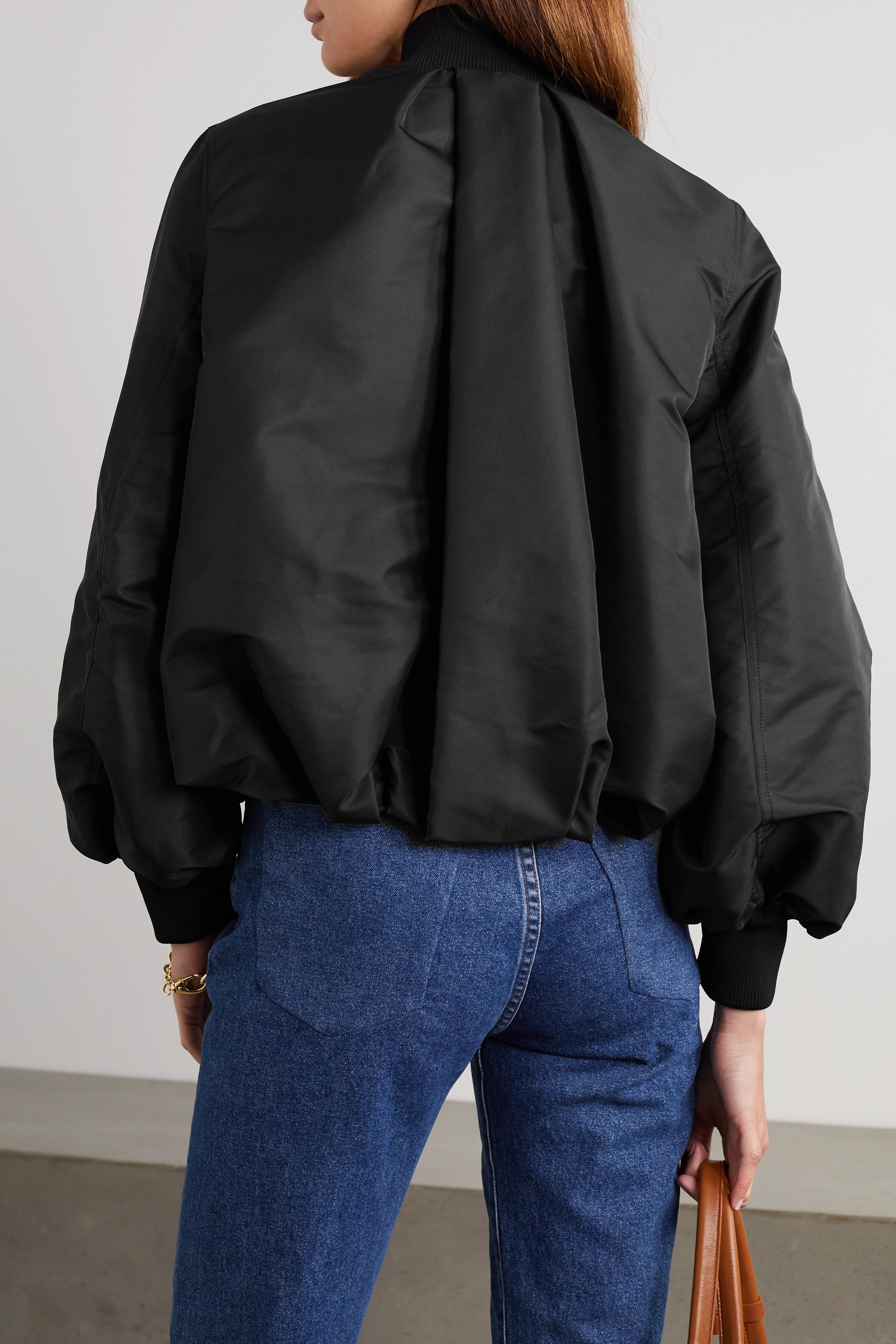 Valentino Ruched printed shell bomber jacket